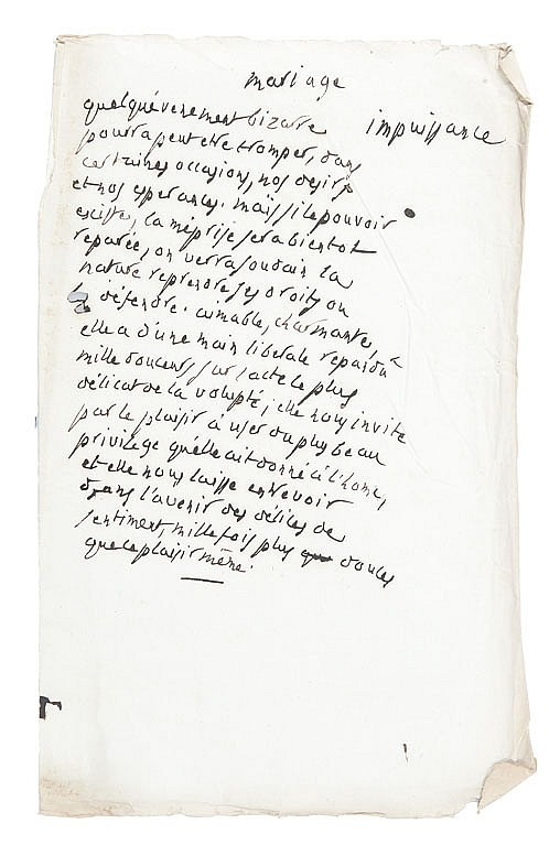 PORTALIS Jean-Etienne-Marie (1746-1807) Mariage encouragement, Mariage impuissance vers 1801. Deux pages autographes. Une page et demie et une page in-folio, écrites sur papier vergé au filigrane J. Bouchet.