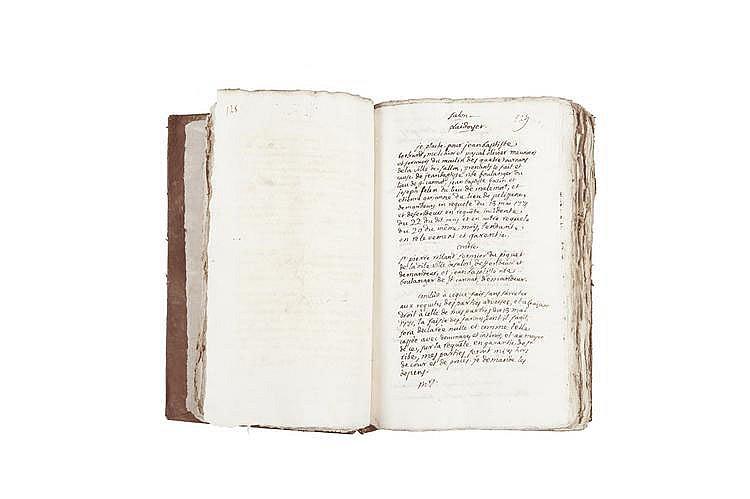 PORTALIS Jean-Etienne-Marie (1746-1807) Plaidoyers Tome IV MANUSCRIT, 1771-1772, un volume in-folio, environ 979 pages écrites à l'encre noire sur papier vergé (1066 pages paginées de plaidoiries, environ 90 pages blanches non écrites, 3 pages de