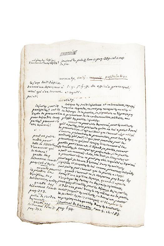 PORTALIS Jean-Etienne-Marie (1746-1807) Notes. Vers 1770 MANUSCRIT autographe, 5 volumes in-folio plus un répertoire, environ 3000 ff. ; vélin, reliure de l'époque (usagée).