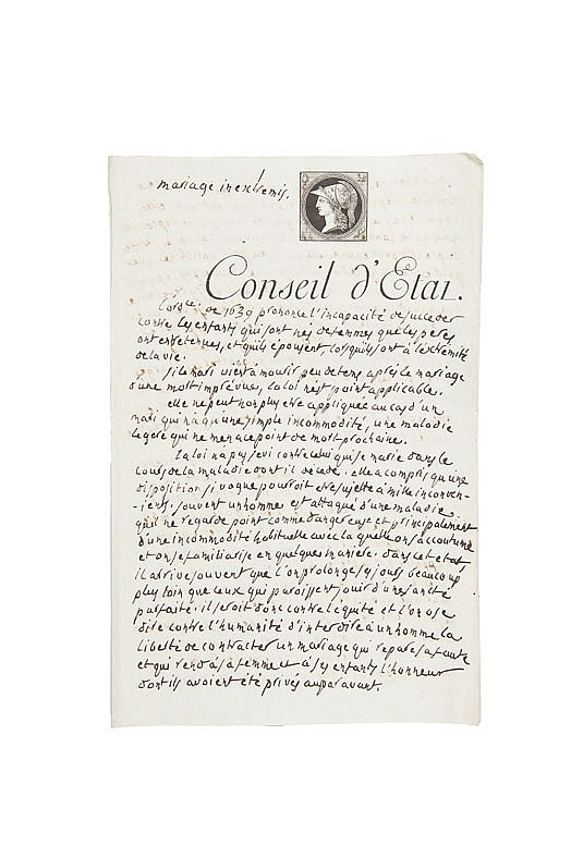 PORTALIS Jean-Etienne-Marie (1746-1807) Mariage in extremis. Vers 1803. MANUSCRIT autographe. Brouillon d'un discours de présentation de 5 pages et demie in-folio écrites à l'encre noire sur papier vergé, en-tête imprimé du Conseil d'Etat, vignette