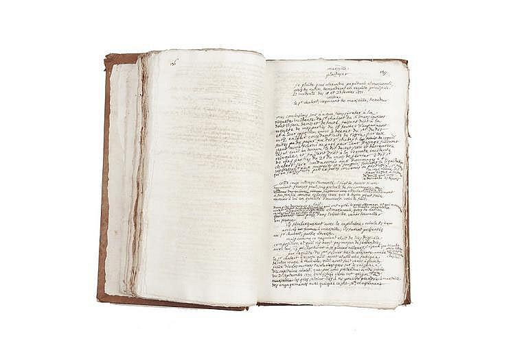 PORTALIS Jean-Etienne-Marie (1746-1807) Plaidoyers Tome III MANUSCRIT, 1770-1771, un volume in-folio, environ 564 pages écrites à l'encre noire sur papier vergé (642 pages paginées de plaidoiries, 80 pages blanches non écrites, 2 pages de table des