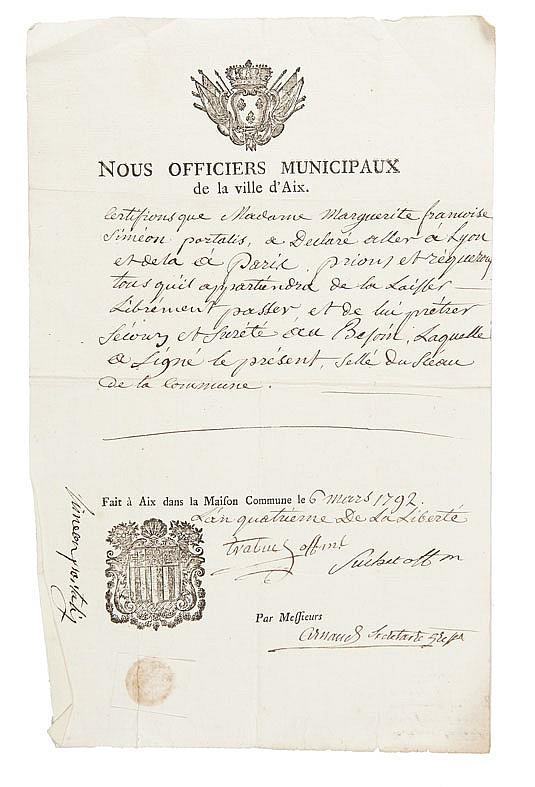 PORTALIS DOCUMENTS SUR AIX. 1792-1795 Réunion de 11 documents de la période révolutionnaire.