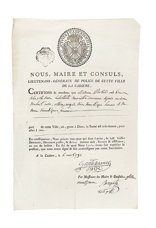 PORTALIS DOCUMENTS SUR LE VAR. 1792 -1795 Réunion de 11 documents de la période révolutionnaire.