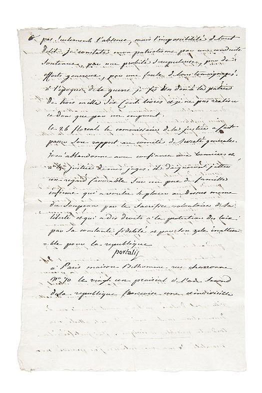 PORTALIS Jean-Etienne-Marie (1746-1807) Mémoire pour Jean-Etienne-Marie Portalis, 21 prairial an II 9 juin 1794 Lettre signée, Paris Maison Belhomme rue Charronne n°70, 9 juin 1794 ; 6 pages in-folio écrites à l'encre noire sur papier vergé.