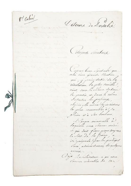 PORTALIS Jean-Etienne-Marie (1746-1807) Discours de Portalis au Sénat sur l'instauration de l'Empire héréditaire, 16 mai 1804.