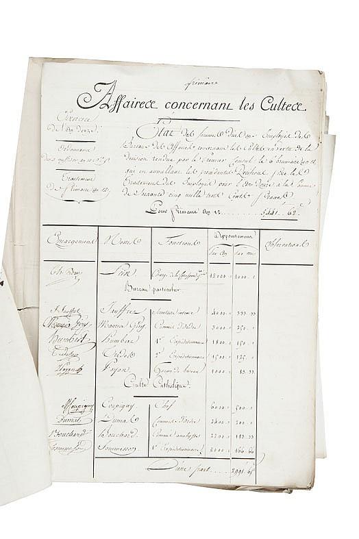 PORTALIS Jean-Etienne-Marie (1746-1807) Réunion de divers documents manuscrits sur les affaires religieuses.