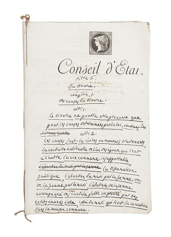 PORTALIS Jean-Etienne-Marie (1746-1807) Titre 6. Du divorce. Vers 1803. MANUSCRIT autographe non signé, non daté. Brouillon d'un discours de présentation rédigé vers 1803. 28 pages in-folio, écrites à l'encre noire sur papier vergé Montgolfier,