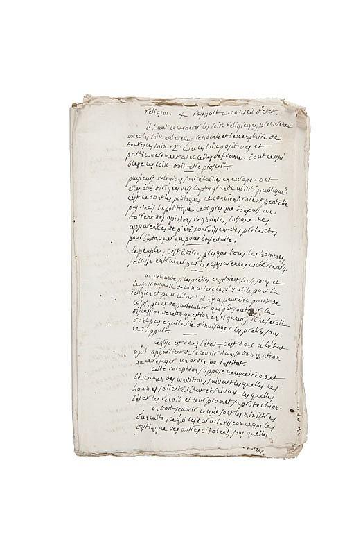 PORTALIS Jean-Etienne-Marie (1746-1807) Religion-rapport au Conseil d'Etat. Vers 1802. MANUSCRIT autographe du brouillon d'un rapport au Conseil d'Etat, non signé, non daté. 46 pages in-folio écrites à l'encre noire sur papier vergé au filigrane J.