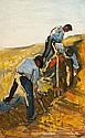 RENÉ SEYSSAUD (1867-1952)   Les travailleurs des champs. Circa 1898.   Huile sur panneau.   Signée en bas à droite.   60 x 38 cm.