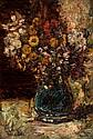 ADOLPHE MONTICELLI (1824-1886) Fleurs dans un vase bleu. Circa 1870. Huile sur panneau. Signée en bas à gauche. 44,5 x 30,5 cm. Exposition : Arles, Fondation Van Gogh. Van Gogh à Arles. Dessins 1888-1889. 2003. Bibliographie : - Van Gogh à Arles,