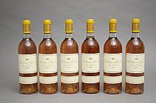 6 bouteilles CHÂTEAU D'YQUEM (3 B.G.+) 1990 C1 Supérieur Sauternes