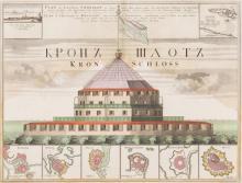 Plan de la forteresse du Kronschloss surmonté de deux vues