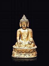 Statuette de bouddha en bronze laqué or Chine, XVIIème siècle.