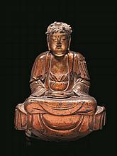 Statue de bouddha en bois laqué rouge et or Chine du sud, XVIIème siècle.