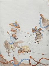 Plaque en porcelaine polychrome Chine, début du XXème siècle.