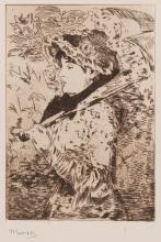 Jeanne : le printemps. 1882. 245 x 180 mm (c. de pl.) ; 445 x 325 mm (feuille). Guérin n° 66. « C'est la dernière eau-forte de Manet qui est mort en 1883 » (Guérin). Très belle et fraîche épreuve sur chine appliqué. Toutes marges.