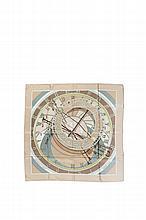 HERMES Paris   Carré en soie imprimée crème et vert amande titré    « Mécanique du temps » de Loïc Dubigeon.   Etat d'usage