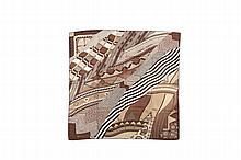HERMES   Carré en soie imprimée dans des tons de marron, titré    « Coupons indiens », dessiné par A. Honoré.   Bon état