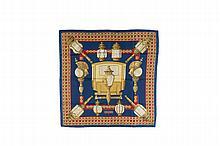 HERMES   Carré en soie imprimée fond bleu, titré « Feux de route ».   Etat d'usage.