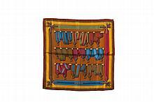 HERMES Paris   Gavroche en soie imprimée à décor de ceintures    rayés de tons acidulés.   45 x 45 cm.
