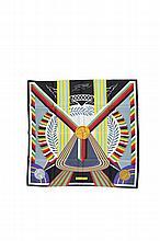 HERMES Paris Made in France   Carré en soie imprimée décor polychrome    « Les jeux d'Hermès ».   Excellent état.