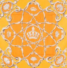HERMES PARIS  Carré en soie imprimée orange.