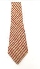 HERMES PARIS  Cravate en soie imprimée. Beige et bordeaux à décor de