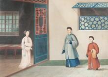 Ecole chinoise, XIXème siècle  Un dignitaire accompagné d'un jeune serviteur, rendant visite à une femme.  Gouache sur papier. 21 x 28 cm.
