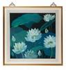 Lin FENGMIAN (1900-1991) Lotus. Représentant des feuilles et fleurs de lotus épanouies sur fond noir. Encre et couleurs sur papier encadré. Signature et cachet de l'artiste en bas à droite. 67 x 65 cm. Provenance : Collection particulière française,