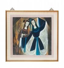 Lin FENGMIAN (1900-1991) Danseuses d'opéra. Représentant deux danseuses d'Opéra sur fond noir. Encre et couleurs sur papier encadré. Signature et cachet de l'artiste en bas à gauche. 65 x 68 cm. Provenance : Collection particulière française, achats