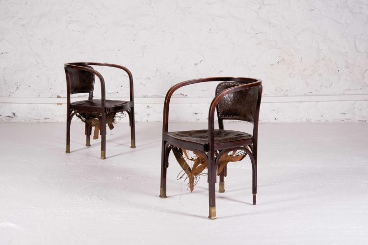 GUSTAV SIEGEL (1880-1970) Paire de fauteuils