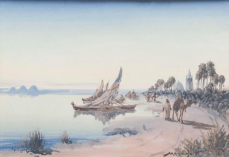 Vincent MANAGO (1880-1936)Au bord du Nil.Aquarelle.Signée en bas à droite.24,5 x 36 cm.