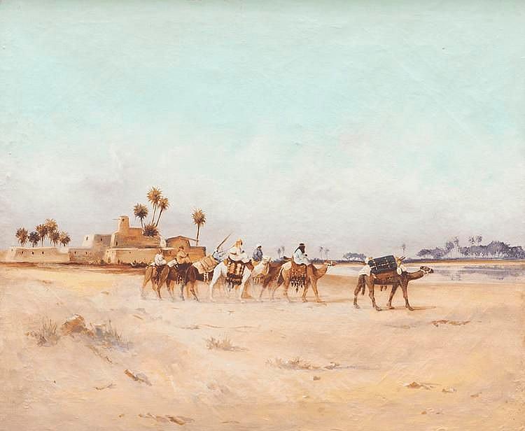 Ecole orientaliste du XXème siècleLa caravane.Huile sur toile.62 x 74 cm.