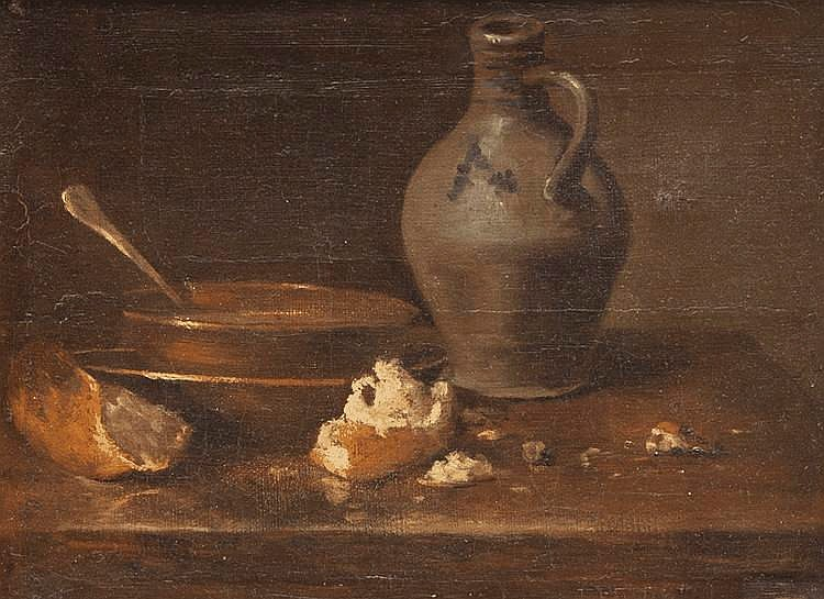 Ecole française du XVIIIème siècle, entourage de Jean-Baptiste Siméon CHARDIN (1699-1779)Nature morte à l'écuelle, au pain et à la cruche.Toile.24,5 x 32,5 cm.