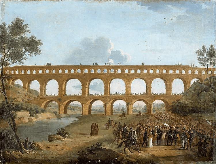 Christophe JUSKY(Actif en France dans la première moitié du XIXème siècle)La visite de la Duchesse d'Angoulême au Pont du Gard, le 10 mai 1823Toile51 x 66,5 cmInscription en bas à gauche Double original du tableau du passage