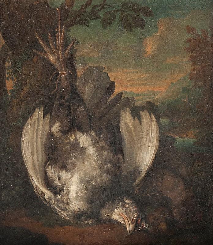 Archangello RESANI (1670-1740) Attribué àNature morte aux oiseaux.Toile. (réentoilée)40 x 34 cm.
