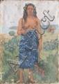 Ecole française du début du XXème siècleTahitienne.Huile sur toile.82 x 66 cm. (Accidents).