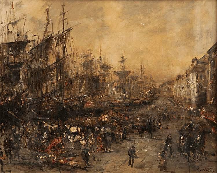 Edouard-Jacques DUFEU (1840-1900).Le quai du port à Marseille. Huile sur toile. Signée en bas à droite. 50,5 x 61,5 cm.
