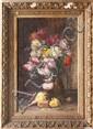 Lillie HONNORAT (XIX-XX)Bouquet de fleurs.Huile sur toile.Signée en bas à gauche et datée 1901.81 x 54 cm.