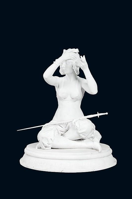 Théodore RIVIERE (1857-1912)L'orientale après la danse du sabre.Importante sculpture en marbre blanc finement sculpté et ajouré.Signé et titré sur la terrasse.H. : 114 cm.Provenance :- Collection privée du sud de la France.