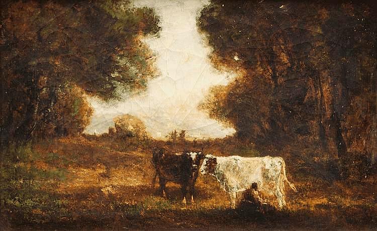 François MAURY (1861-1933)Vaches au pâturage.Huile sur toile.Signée en bas à gauche. 38,5 x 60 cm.