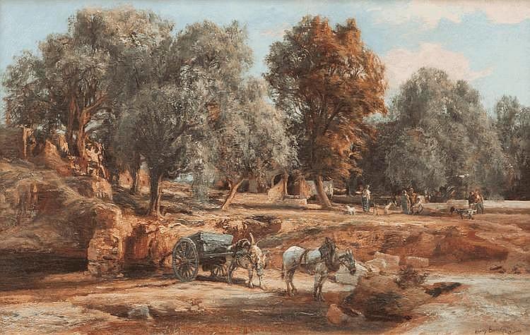 Henri-Arthur BONNEFOY (1839-1917)Le campement.Huile sur toile.Signée et située à Cannes en bas à droite.38 x 59 cm.
