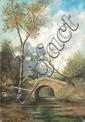 Eugène Jules DELAHOGUE (1867-1934)Paysage au pont.Huile sur toile.Signée en bas à droite. 54 x 40 cm.