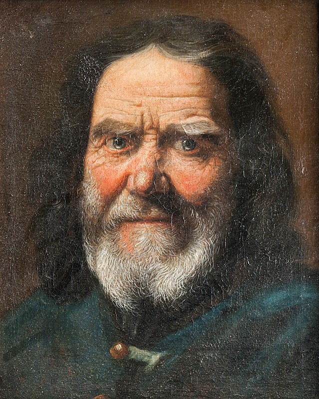 Ecole italienne du XVIIIème sièclePortrait d'un homme barbu.Sur sa toile d'origine.38,5 x 31,5 cm.