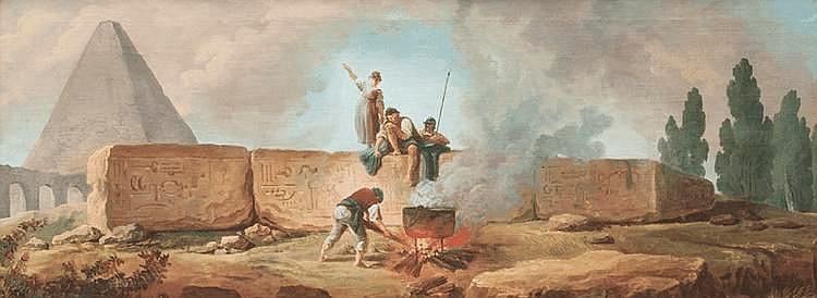 Hubert ROBERT (Paris 1733 - 1808)Obélisque avec des personnages autour d'un brasero.Paysage de rivière animé.Paire de toiles.51 x 133 cm.Provenance :- Vente anonyme, Londres, Sotheby's, 8 décembre 1976, n° 44 (suite de quatre toiles).-