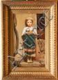 Camille CLERE (1825-1918)Jeune fille à l'orange.Huile sur toile.Signée et datée 1861 en bas à droite.53 x 31,5 cm.