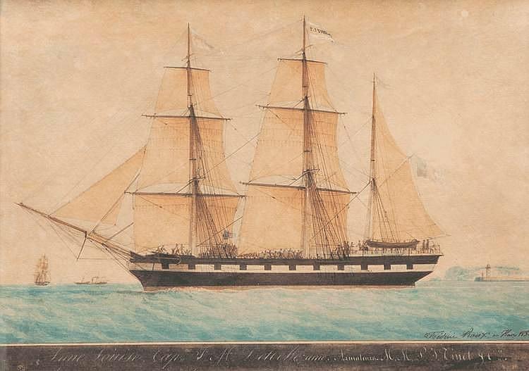 Frédéric ROUX (1805-1874)Portrait du trois mâts Anne-Louise. Aquarelle. Signée, datée 1850 et située au Havre en bas à droite. 40 x 58 cm.
