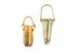 DEUX DOUBLE-BALSAMAIRES  En verre à «anse de panier», dont un orné d'un filet enroulé.  (Une anse refaite). Epoque romaine.  H. : 14,5 et 19 cm.