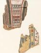 DEUX FRAGMENTS DE CARTONNAGES DE MOMIE  Collier ousekh et divinité adorante. Polychromie.  Basse Epoque. H. : 17 cm.