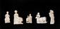 RARES PLAQUETTES D'INCRUSTATION  Pécheur, roi trônant, dieu-roi, taureau de sacrifice, adorant. (5 pièces).  Pièces similaires : British Museum, Londres. Coquille marine/ nacre.  Proche orient/Art sumérien. IIIè mill. av. J.-C.  H. : 5 à 9 cm.